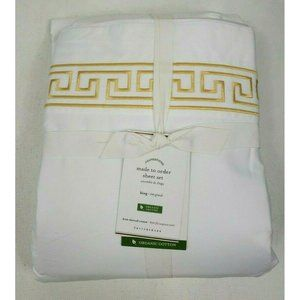 Pottery Barn Geo Embroidered Organic King Sheets